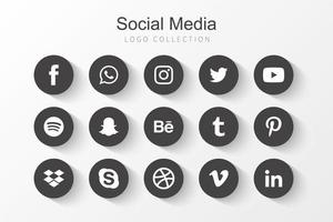 Collection black round social media icons vector