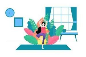 illustration vectorielle d'une femme faisant du yoga dans la maison.