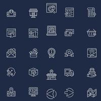 conjunto de iconos web de esquema de comercio electrónico vector