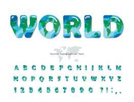 Mapa del mundo abc letras y números aislados en blanco