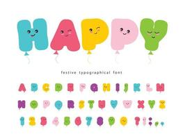 Kawaii colorful ABC letters and numbers. vector