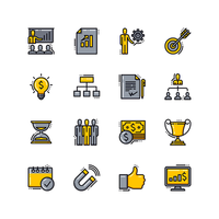 Business Presentation Flat Line Icons