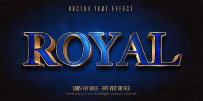 Blue and shiny gold style editable text effect vector