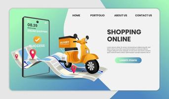 Online shopping website templates for food delivery  vector