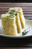 Dhokla - a fermented sweet-sour from Gujarati snack.