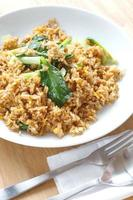 Fried rice with pork and chinese cabbage