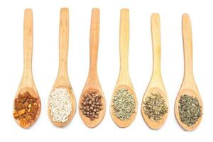 Various spices isolated on white