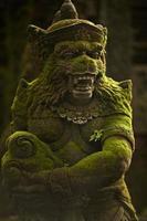 Statue of Balinese spirit in to monkey garden