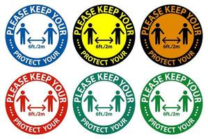 Please keep your distance sign set  vector
