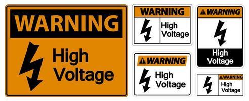 Warning high voltage sign set  vector