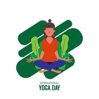 día internacional de yoga con mujer sentada piernas cruzadas vector