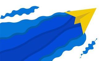 avión de papel amarillo con ondas azules abstractas vector
