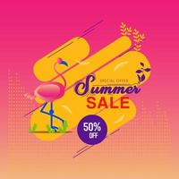 Summer Sale Background with Flamingo vector