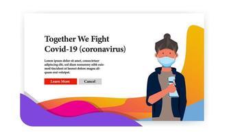 '' insieme combattiamo '' banner covid-19 vettore