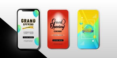 Set of ''Grand Opening'' Mobile Phone Templates vector