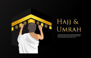 Hajj and Umrah Banner with Praying Man from Behind vector