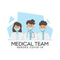équipe de personnel médical conception covid-19