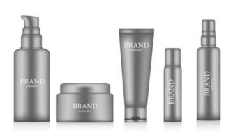 Collection of realistic cosmetic bottles mockup  vector