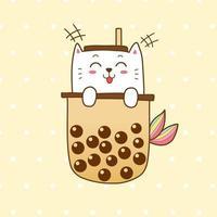 simpatica sirena di gatto con tè al latte in bolle
