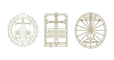 Three creative modern cross, sword and bible icons vector