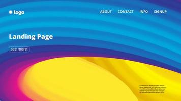 Abstract colorful flowing wave landing page