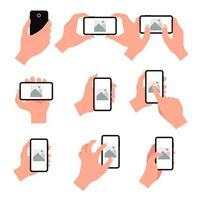 Set of mobile phone hand gestures