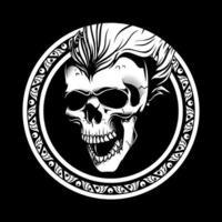 cabeza de calavera en marco de círculo adornado