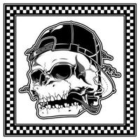 Skull wearing hat and smoking a pipe
