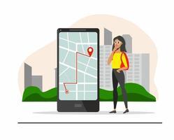 concepto de ruta turística con chica mirando el mapa