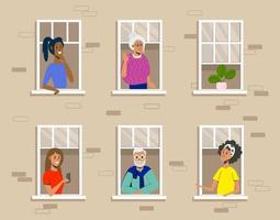 People in windows of residential building flat design