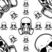 Skull wearing gas mask seamless pattern vector