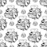 Seamless pattern with bulldog in hat vector