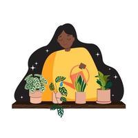 vrouw drenken planten plat ontwerp