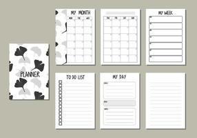 conjunto de planificador de diseño de hojas blancas y grises