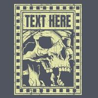 Grunge skull with eye patch in text frame vector