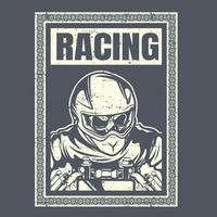Skull racer with helmet hand drawing vector