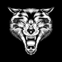 rugindo lobo cabeça mão desenho vetor