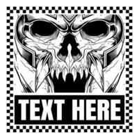 Monstre squelette portant un casque dans le cadre de texte à carreaux