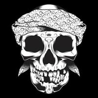 Skull in bandana with missing teeth