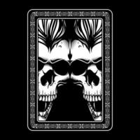Twin angry skull faces in ornament frame vector