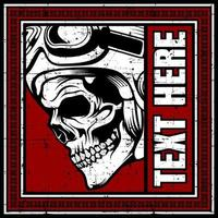Side profile of skull in red text frame vector
