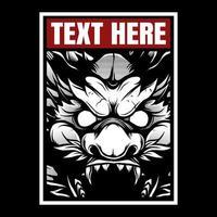 Cabeza de dragón rugiente enojado en marco de texto vector