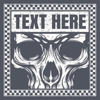 Vintage style skull face in checkered text frame vector