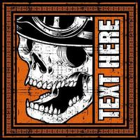 Biker skull head in orange text frame