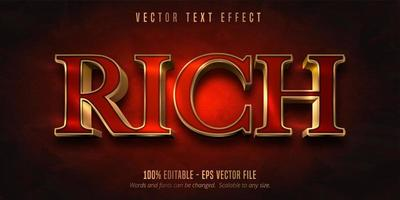 Rich red and shiny gold style text effect vector