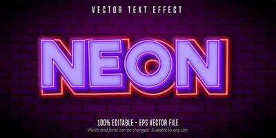 efecto de texto de estilo de neón de contorno púrpura y rojo