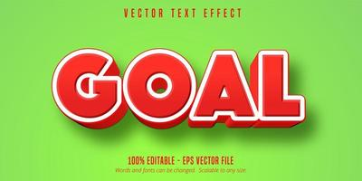 Goal red and white game style text effect vector
