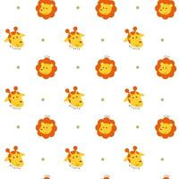 Seamless pattern with lion and giraffe heads vector