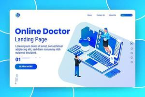 Online medical consultation service isometric webpage template