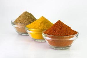 Chili Powder, Turmeric Powder & Coriander powder in Bowl